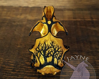 Muskrat Tree - Muskrat skull - bone,gift,strange,oddity,unusual,decor,painting,acrylic,gold,artwork,trees,vulture culture,alter,witchy.