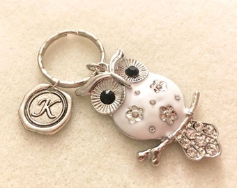 Owl keychain personalized owl gifts for women owl jewelry owl lover gift for her gift ideas for women unique gifts unique keychain