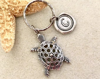 Monogram sea turtle keychain with letter beach keychain personalized turtle  gifts turtle jewelry friendship gift turtle monogram gift f0c1110461