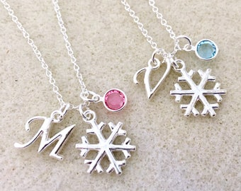 Swarovski birthstone Bridesmaid snowflake necklace Christmas necklace winter bridesmaid gift Frozen necklace Frozen birthday party outfit