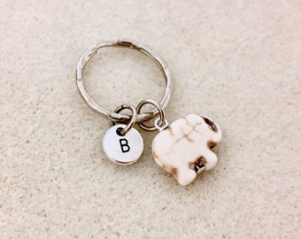 Tiny turquoise elephant keychain elephant lover gifts personalized gift  best friend gifts elephant gift initial keychain initial gifts women 49d8fead2