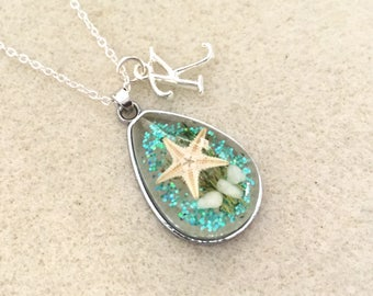 pendant on a silver necklace wedding or bridesmaid gift Mother/'s Day gift birthday Real starfish in resin terrarium pendant