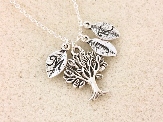 Personalized Jewelry for Mom Gift for Grandma Gift for Mom Silver Family Tree Leaf  Bracelet Christmas Gift Family Tree Jewelry