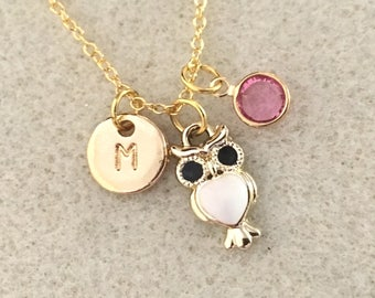 Personalized gold owl necklace owl jewelry owl birthday party favors owl gifts owl lover gift owl baby shower white owl necklace jewelry