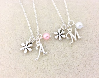 Flower girl necklace gift for flower girl gift daisy necklace wedding gift for bridesmaid necklace flower girl gift ideas bridesmaid jewelry