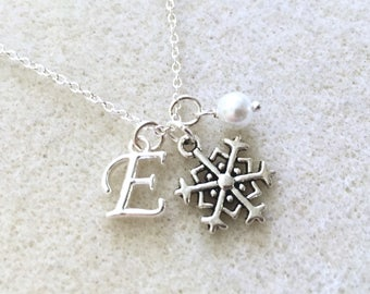 Bridesmaid snowflake necklace with letter Christmas necklace winter necklace winter bridesmaid gift winter wedding flower girl necklace