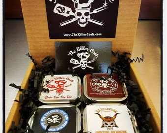 The Killer Cook's Passport To Flavor Four Dry Rub Gift Set 4  3oz tins & 1 sticker