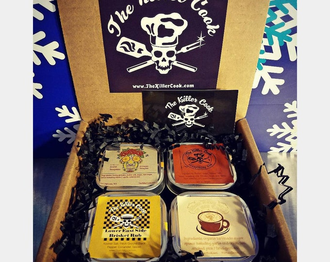 Featured listing image: The Killer Cook's Passport To Flavor Four Dry Rub Gift Set 4  2oz tins & 1 sticker