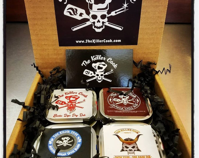 Featured listing image: The Killer Cook's Passport To Flavor Four Dry Rub Gift Set 4  3oz tins & 1 sticker