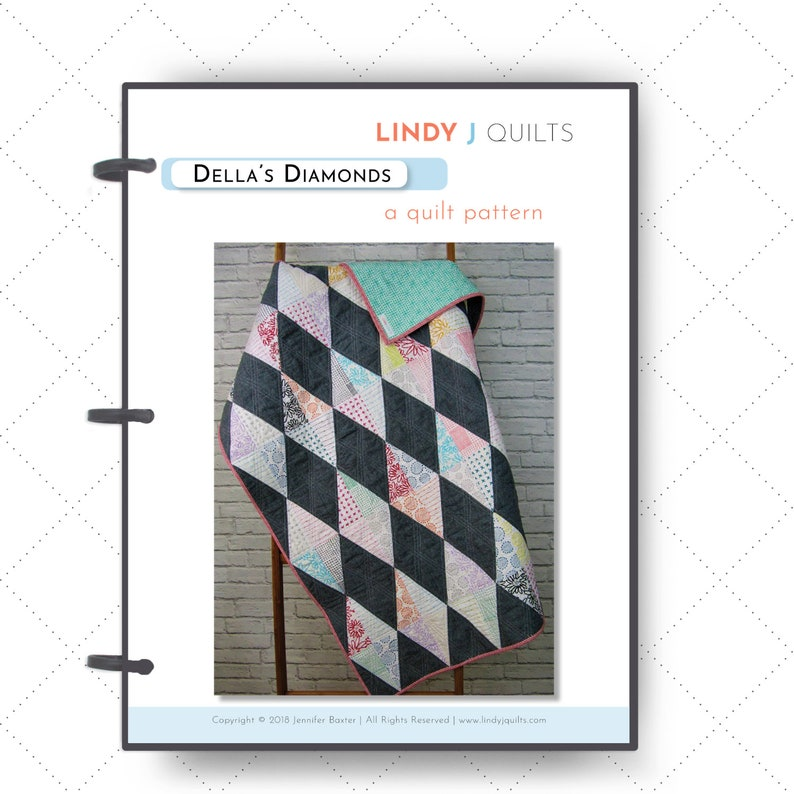 Della's Diamonds Quilt Pattern  Size Ranges from Mini to image 0