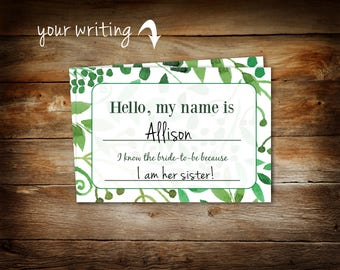 bridal shower name tags guest name tags blank name tag etsy