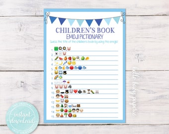 Children's Book Emoji Pictionary Game, Baby Shower Game, Boy Baby Shower, Blue Baby Shower, Baby Shower Ideas, Baby Pictionary Game, BBF