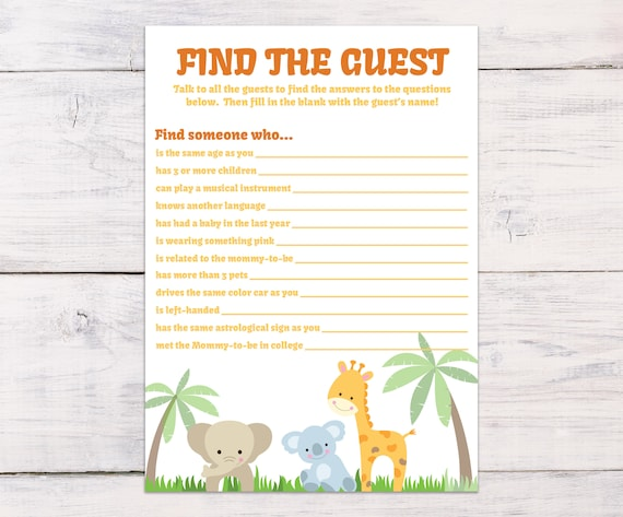 Find the Guest, Baby Shower Game, Jungle Baby Shower, Safari, Jungle  Animals, Gender Neutral, Baby Shower Ideas, Guess Who, Tropical, 0005