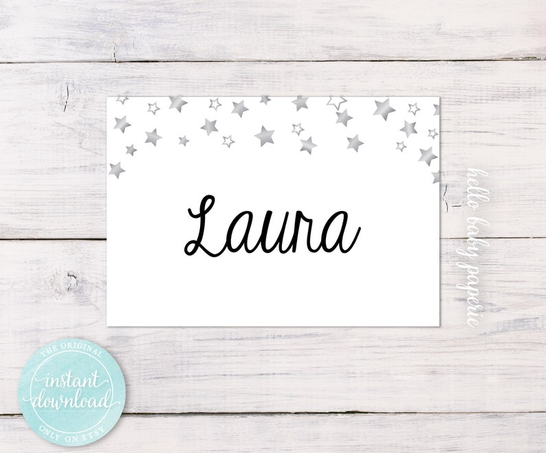 Blank Name Tags - Guest Name Tags - Party Name Tags - Star Name Tags - Fits  Avery® White Adhesive Name Badges 5395