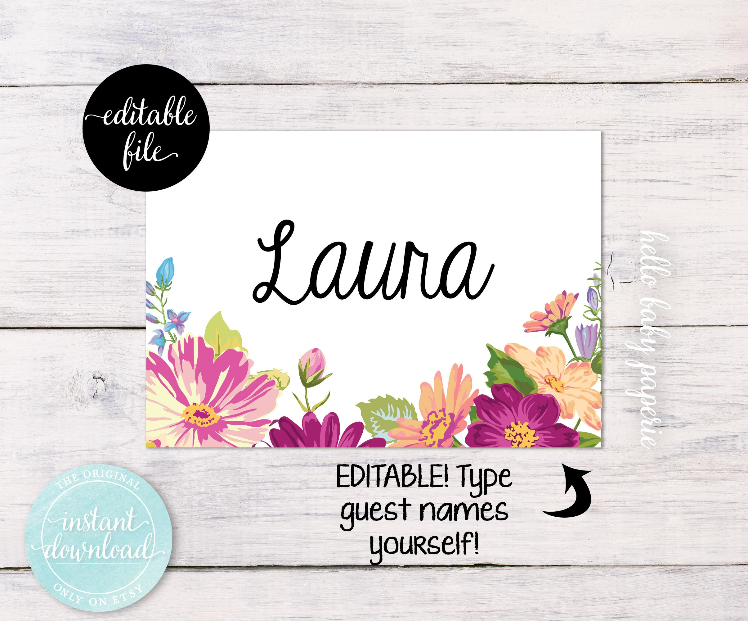 Bridal Shower Name Tags Purple Flower Name Tags Baby Shower Etsy