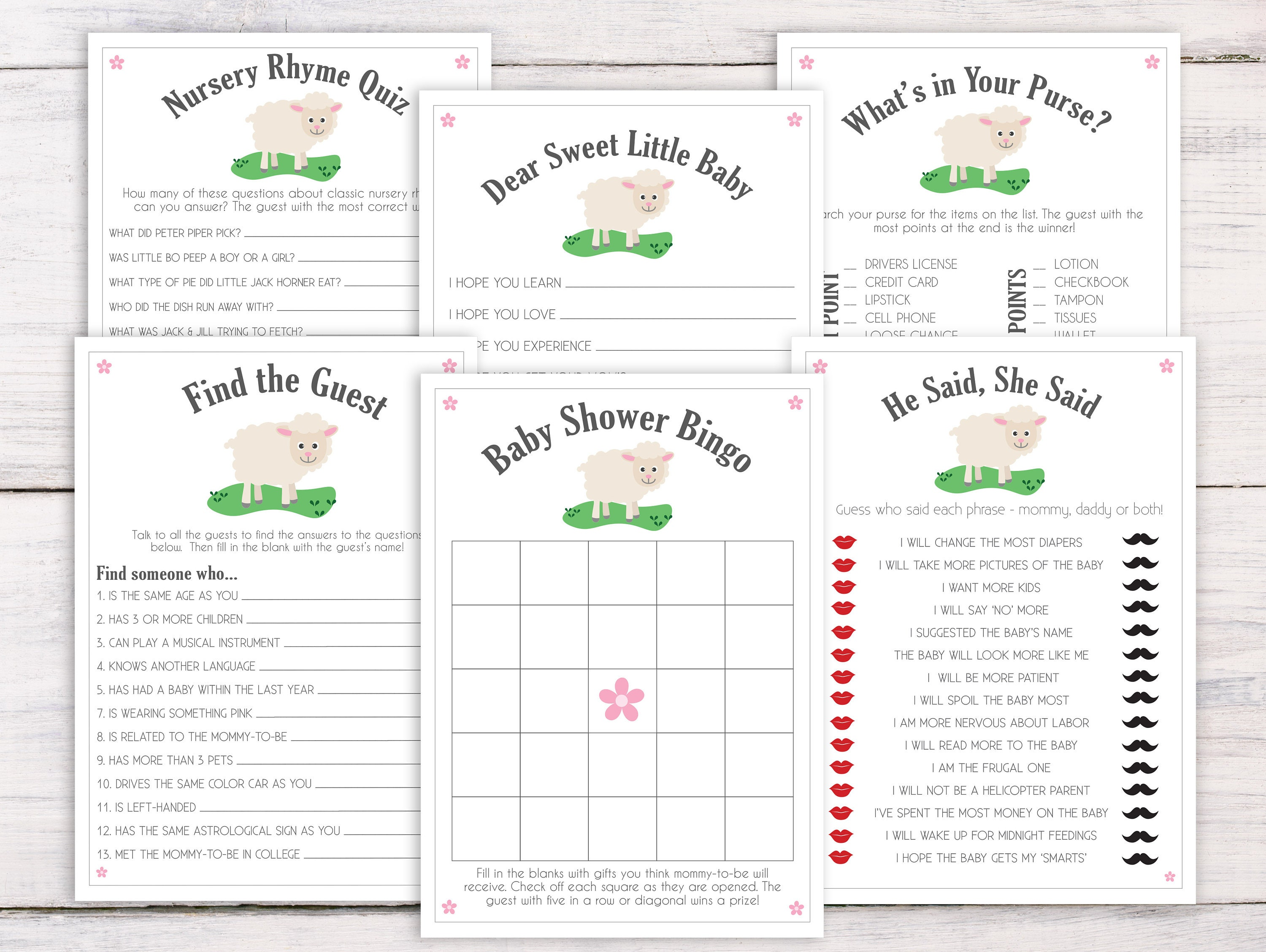 Baby Shower Games, Little Lamb, Baby Shower Ideas, Baby Shower Boy, Baby  Shower Girl, Baby Bingo, Nursery Rhyme Game, Purse Game, LL1