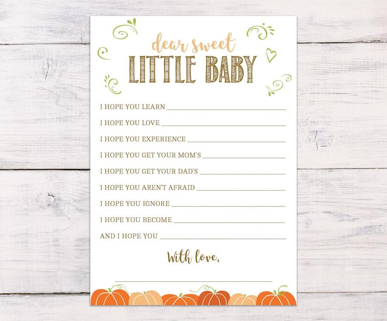 2607611f2ef7c Baby Shower Games, Dear Baby, Pumpkins, Wishes for Baby, Fall Baby Shower,  Country Baby Shower, Baby Shower Ideas, Rustic, PP05