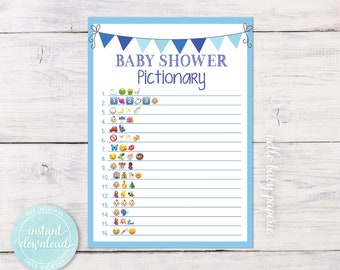 Emoji Game, Baby Shower Game, Boy Baby Shower, Blue Baby Shower, Baby Shower Ideas, Baby Pictionary Game, BBF