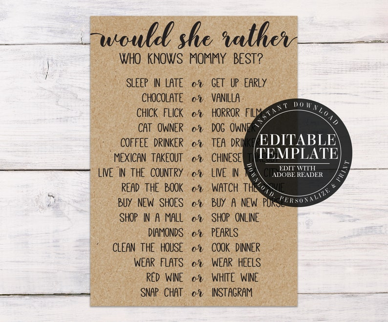 695d34c464e0a Would She Rather, Who Knows Mommy Best, Baby Shower Game, Rustic Baby  Shower, Country Baby Shower, Baby Shower Ideas, R01