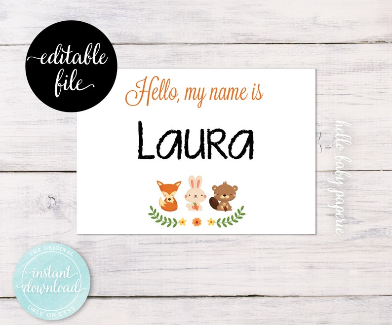 Woodland Name Tags, Editable Guest Name Tags, Avery Adhesive, Baby Shower  Name Tags, Fits Avery® White Adhesive Name Badges 5395 - 0021