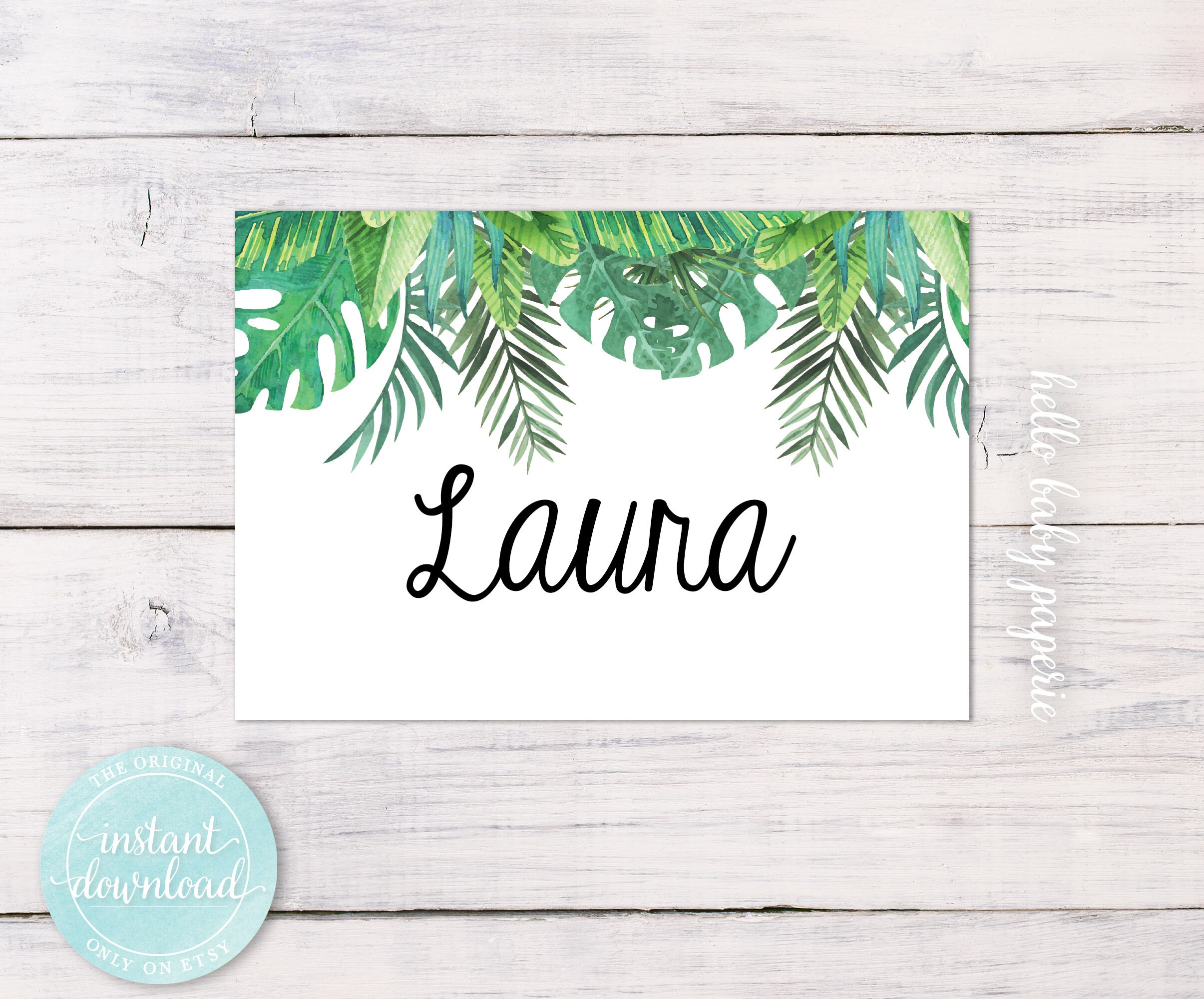 Name Tags Jungle Baby Shower Tropical Tags Name Badges Etsy