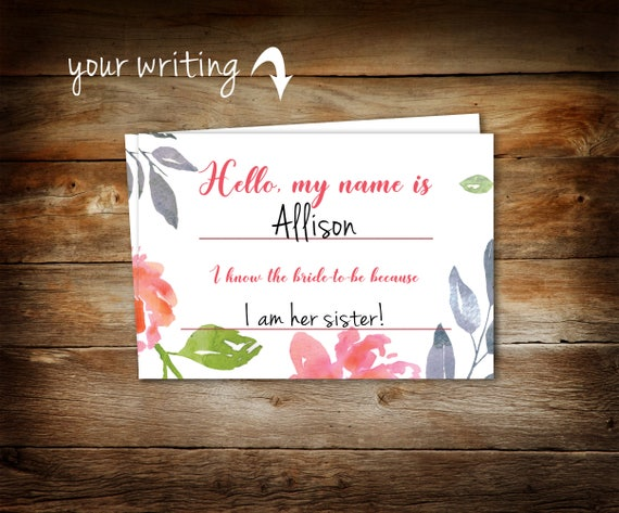 bridal shower name tags floral guest name tags bridal name etsy
