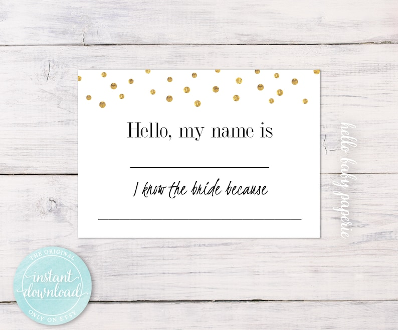 Name Tags, Gold Baby Shower, Gold Tags, Name Badges, Avery Name Tags, Name  Tags for Wedding, Baby Shower Name Tags