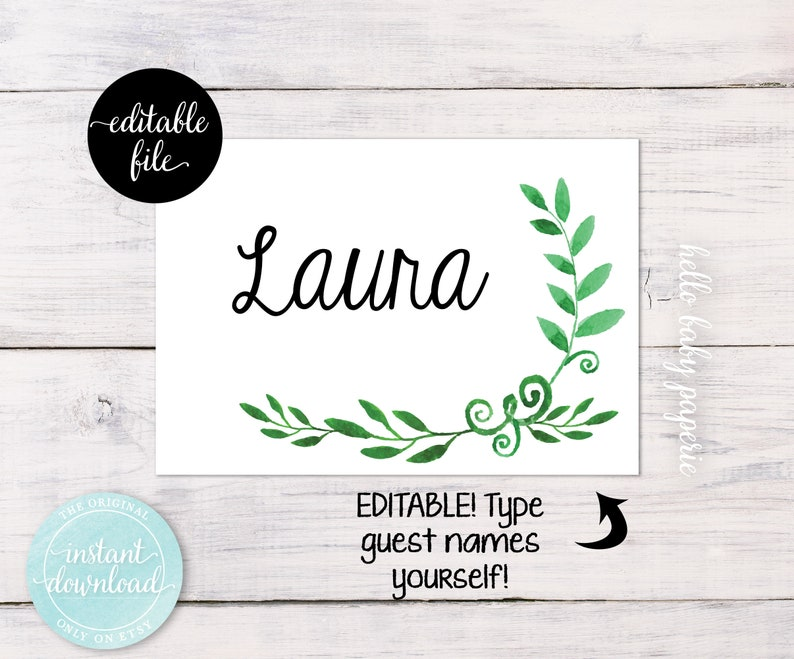 Name Tags Greenery Baby Shower Minimalist Baby Shower Name Etsy