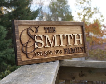 Personalized Last Name Sign Family Name Wedding Gift Custom Carved Wooden Signs Décor Established Wood Plaque Name Sign Couple Anniversary