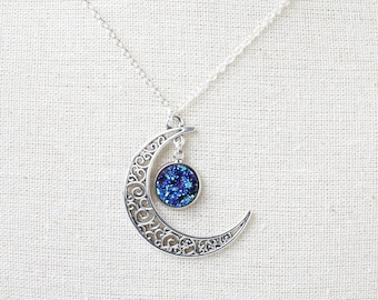 Blue Moon Necklace, Moon Necklace, Moon Jewelry, Blue Moon Jewelry, Druzy Necklace, Blue Druz Necklace, Moon Pendant Necklace, Moon Charm
