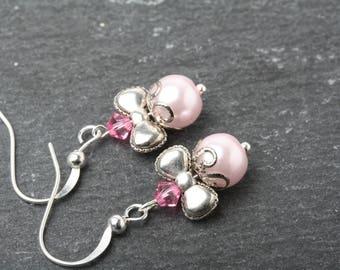 Pink pearl earrings, Bow earrings, Free earrings, silver earrings, low cost earrings, affordable earrings, stocking stuffer, girl's earrings