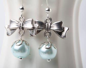 mint pearl earrings, Bow earrings, Free earrings, silver earrings, low cost earrings, affordable earrings, stocking stuffer, gift for her