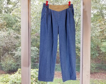 ce96bc7e Vintage 1980/90s Elastic Waist Jeans with Faux Suede Front   Saint Germain  Paris Pants   Mom BaggyJeans   Tag Size Large
