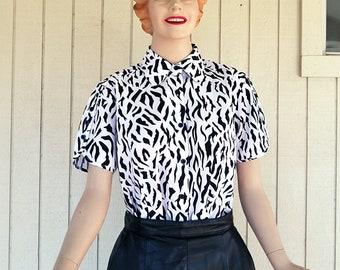 Vintage 1980s Zebra Print Shirt   Short Sleeve Blouse by American Sweetheart   Graphic Print Black & White Summer Shirt