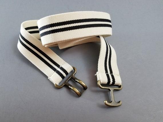 Retro Unisex 70s Burgundy//sky//white Stripe Elastic Snake Belts