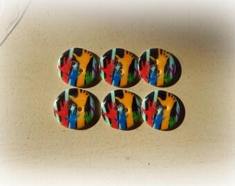6 boutons rond plexi mains colorées 20 mm