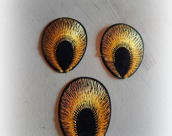 3 patches fusible patch / applique 53 * 40 mm black and Yellow Peacock eye