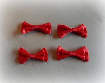 4 nodes satin red 4.5 * 2 cm