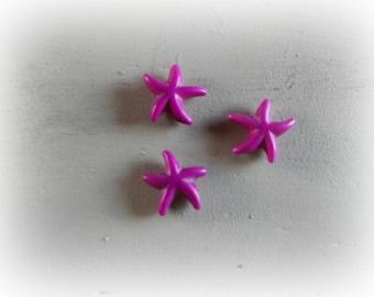 3 Pearl starfish, howlite, Pink-Purple, 15 mm