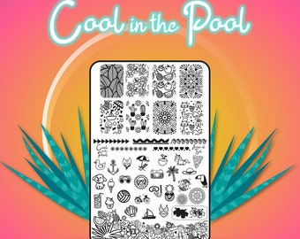 Cool in the Pool - Acrylic Nail Art Stamping Plates