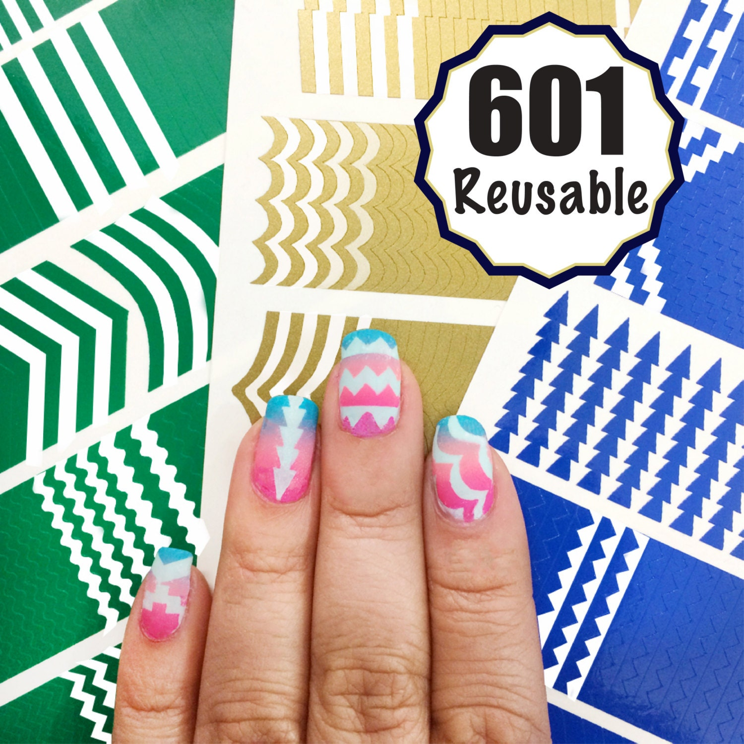 601 Reusable Nail Art Stencils Vinyl - 16 Different Shapes: Chevrons ...