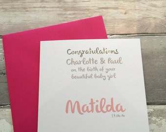 Baby girl card- baby girl- birth card - personalised baby girl card - baby girl card - new baby card - new baby - named card - new baby girl