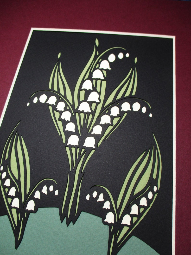 Spring Flowers 8x10 Art Deco Lily of the Valley Paper Cutting