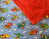 Airplane Teddy Baby Toddler Self-Binding Flannel Blanket