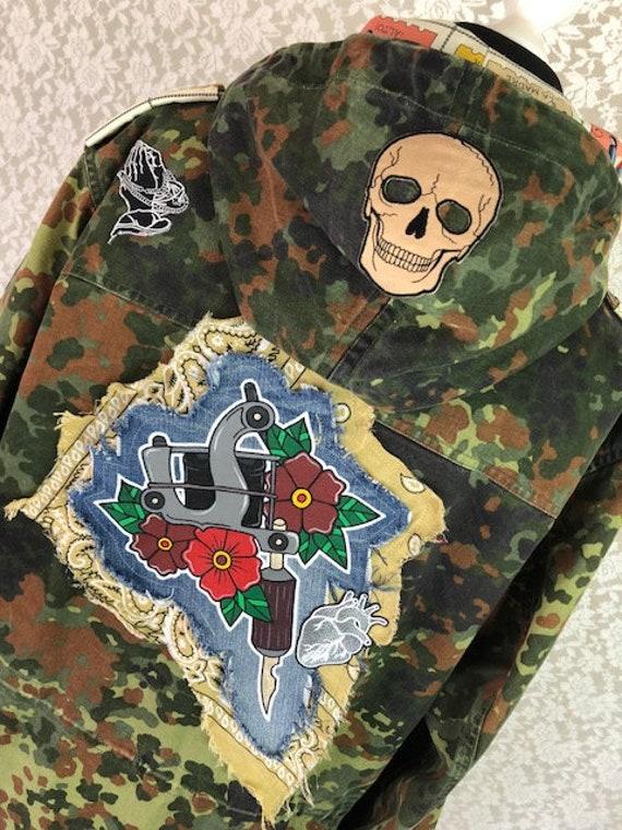 Pop Parka Tat Gun Tattoo Gun Oldschool Camouflage Etsy