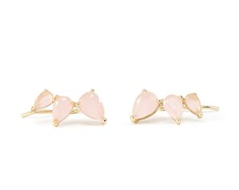 Dainty ear climbers, rose quartz earrings, gold ear climbers, rose quartz ear climbers, crystal ear pins, gemstone ear crawlers