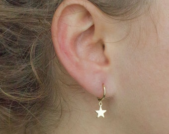 Star hoops - gold star hoops - star charm earrings - star hoop earrings - dainty hoops -gold star earrings -charm earrings -minimalist hoops