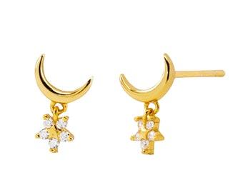 Tiny moon earrings, gold star studs, dainty earrings, moon stud earrings, star studs, gold earrings, delicate studs, mini stud earrings