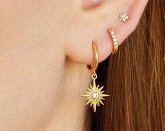 Star hoops, gold star earrings, star cz hoops, cz earrings, cz hoops, minimal hoops, dainty hoops, gold hoops, charm hoops, hoop earrings