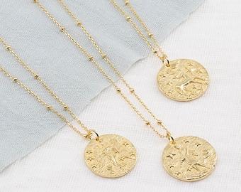 Zodiac necklace, horoscope necklace, gold medallion, pendant necklace, layering necklace, aquarius necklace, minimal necklace, coin necklace
